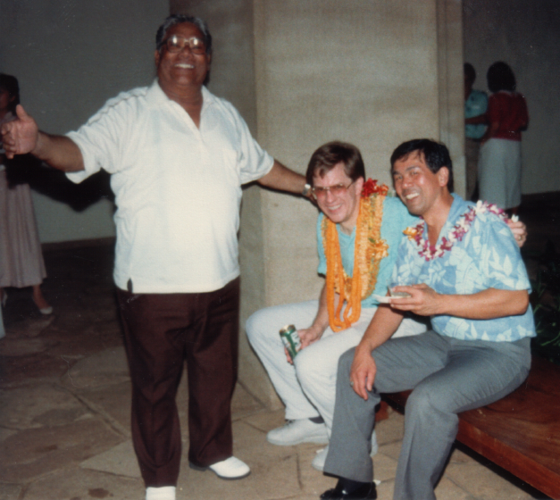 Raymond Kane, Richard Kennedy, Ricardo Trimillos, Academy of Arts, June, 1988, courtesy Raymond Kane