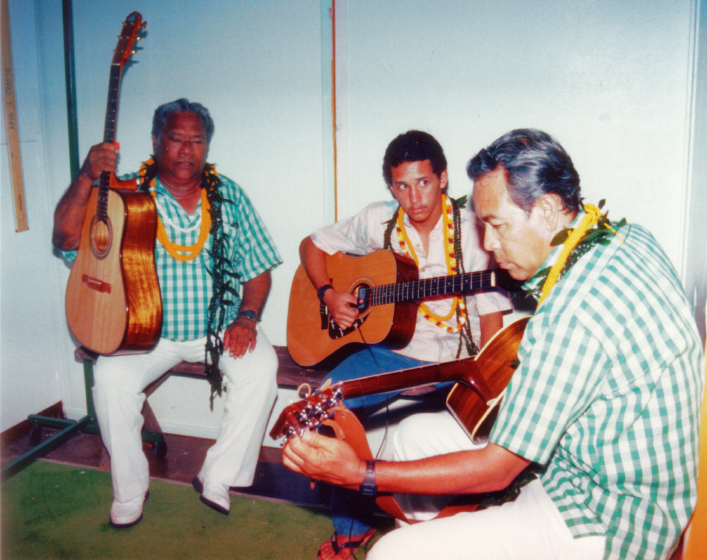 Raymond Kane, Denny SanTiago, Ed Lee, Bank of Hawaii, Slack Key Festival, 1987, courtesy Raymond Kane