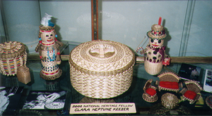 Baskets by Clara Neptune Keezer at the Camden, Maine, Library, November 1, 2005, courtesy Clara Neptune Keezer