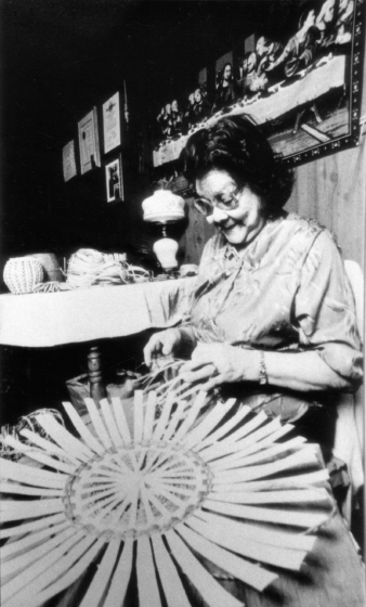 Clara Neptune Keezer making a basket. Courtesy National Endowment for the Arts