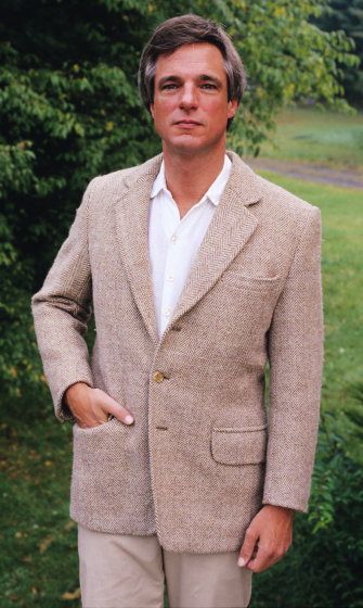 Jacket in old style Scottish tweed made by Norman Kennedy, set at 18 threads per inch. Handspun weft from Barra, Scotland, courtesy National Endowment for the Arts