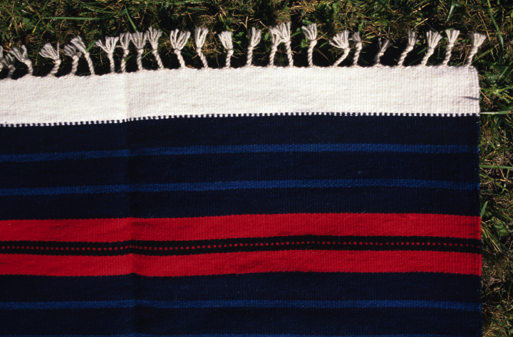 Bench carpet by Norman Kennedy (detail), woven with tapestry technique in Balkan Style, hand-dyed, partially handspun wool weft, courtesy National Endowment for the Arts
