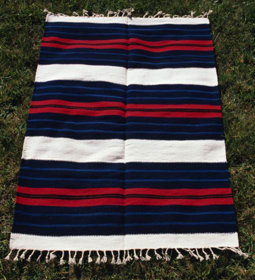 Bench carpet by Norman Kennedy, woven with tapestry technique in Balkan Style, hand-dyed, partially handspun wool weft, courtesy National Endowment for the Arts