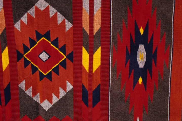 Rio Grande blanket by Norman Kennedy (detail), all handspun wool, yarn set at 6 threads per inch, woven 24 threads per inch, hand-dyed with indigo, cochineal and logwood, courtesy National Endowment for the Arts