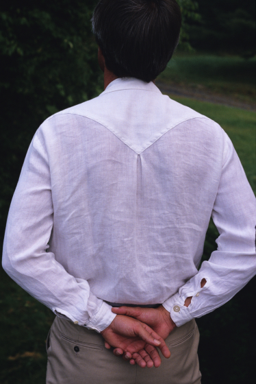 Man's shirt made by Norman Kennedy, linen warp and weft, set at 30 threads per inch, courtesy National Endowment for the Arts
