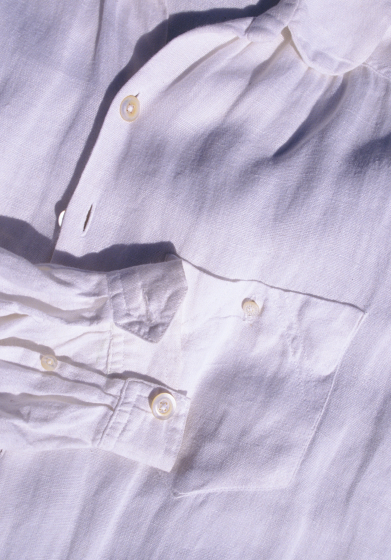 Man's shirt made by Norman Kennedy (detail), linen warp and weft, set at 30 threads per inch, courtesy National Endowment for the Arts