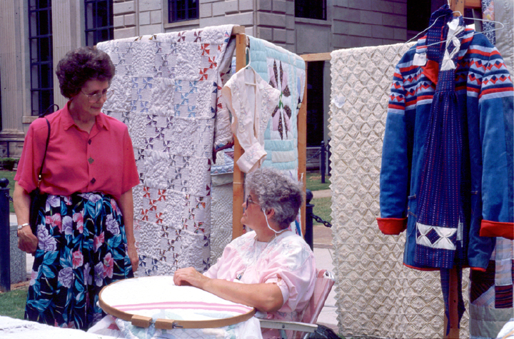 Bettye Kimbrell demonstrating her quilting technique, courtesy Bettye Kimbrell