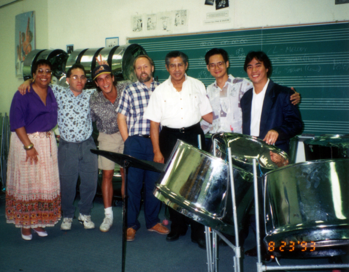 Elliot Mannette is pictured with members of the Percussion Department of West Virginia University in the mid-1990s. At left is Kaethe George, who served as executive director of the Mannette Foundation and as Mannette's personal assistant and biographer. Photograph by Kaethe George, courtesy Mannette/George Private Archival Collection