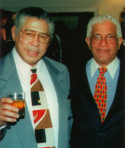 Elliot Mannette is pictured with former Trinidadian Prime Minister Basdeo Panday at a social event in Washington, D.C. Photograph by Kaethe George, courtesy Mannette/George Private Archival Collection