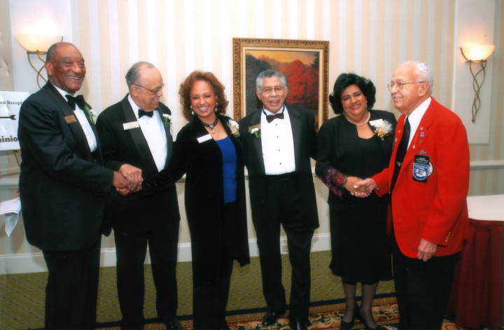 "Elliot Mannette was among recipients of the 2005 ""Strong Men and Woman"" award sponsored by Dominion Hope Gas. Noted television personality Daphne Maxwell Reid is pictured third from left. Photograph by Kaethe George, courtesy Mannette/George Private Archival Collection"