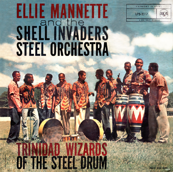 Elliot Mannette and the Shell Invaders Steel Orchestra, album cover, courtesy Mannette/George Private Archival Collection