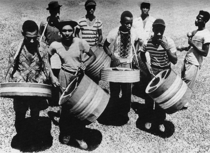 Elliot Mannette (second from left) in a street band in Trinidad, courtesy Mannette/George Private Archival Collection