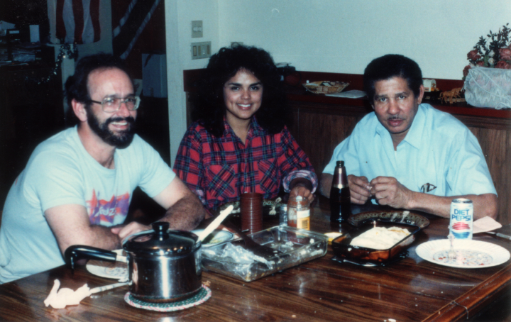 Elliot Mannette is pictured with friends at his residence in Phoenix, Arizona in 1989, Photograph by Kaethe George, Courtesy Mannette/George Private Archival Collection