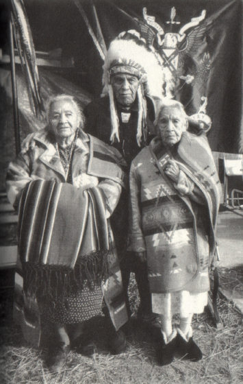 Esther Martinez (left) with her younger brother, Tony, and older sister, Virginia Heart, 1998, from *My Life in San Juan Pueblo: Stories of Esther Martinez*, University of Illinois Press, 2004