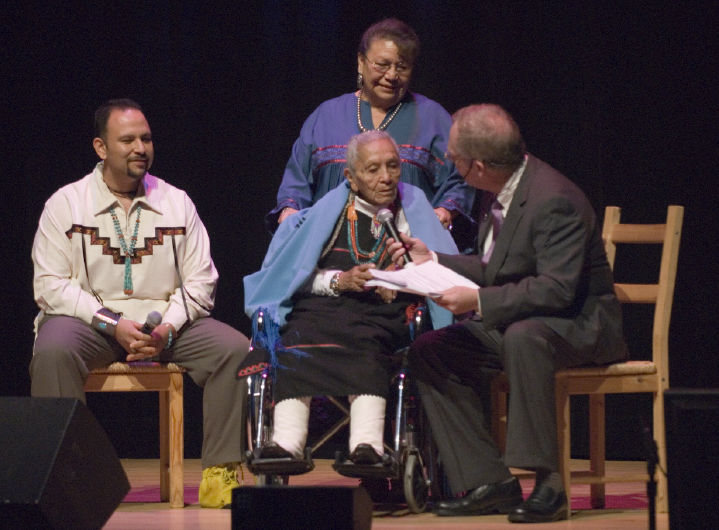 From left: Matthew J. Martinez, Esther Martinez, Josephine Binford and Nicholas R. Spitzer, 2006 National Heritage Fellowship Concert, Strathmore Music Center, Bethesda, Maryland, photograph by Alan Hatchett