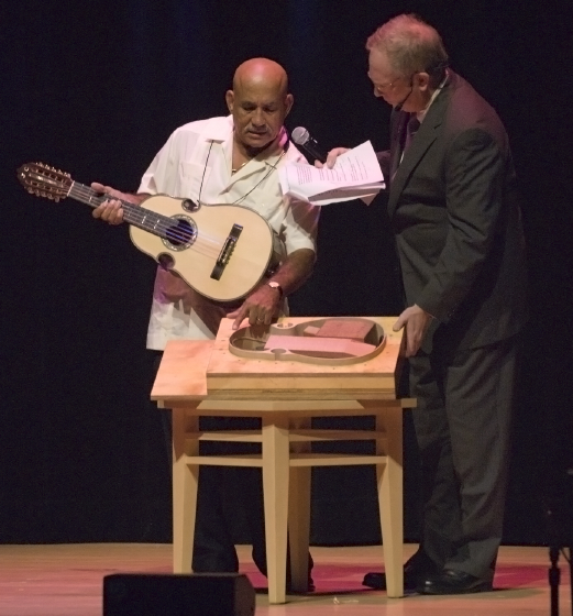 Diomedes Matos and Nicholas R. Spitzer, 2006 National Heritage Fellowship Concert, Strathmore Music Center, Bethesda, Maryland, photograph by Alan Hatchett