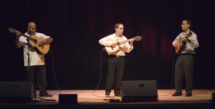 From left: Diomedes Matos, Jonathan Camacho and Joel Camacho, 2006 National Heritage Fellowship Concert, Strathmore Music Center, Bethesda, Maryland, photograph by Alan Hatchett