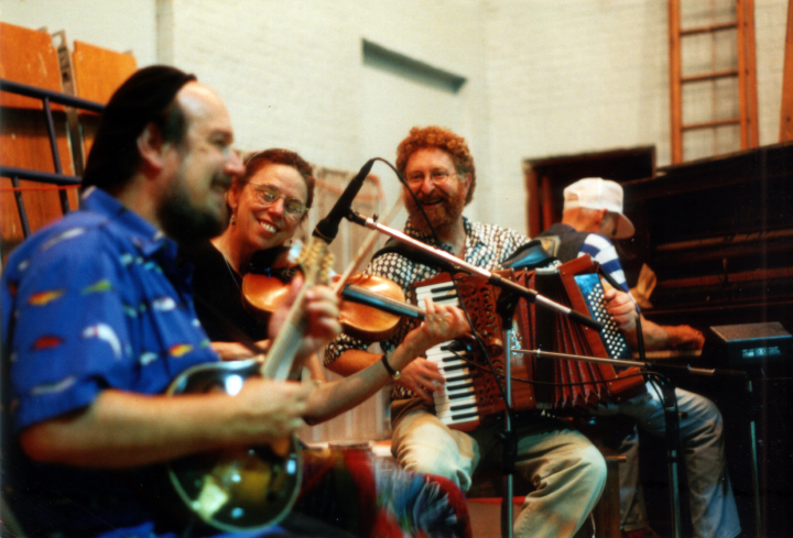 From left: Paul Kotapish, Cathie Whitesides, Laurie Andres, Bob McQuillen, Labor Day, Dawn Dance, Brattleboro, Vermont, 1998