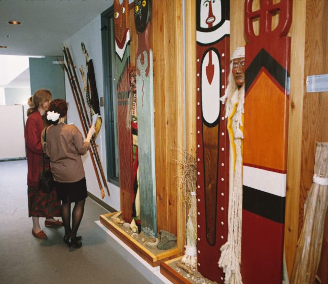 Exhibition of totems by Gerald Bruce 'Subiyay' Miller, photograph by Karen James, courtesy National Endowment for the Arts