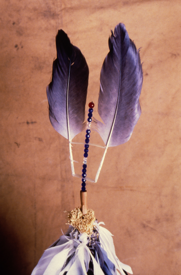 Detail of Feather net by Gerald Bruce 'Subiyay' Miller, courtesy National Endowment for the Arts