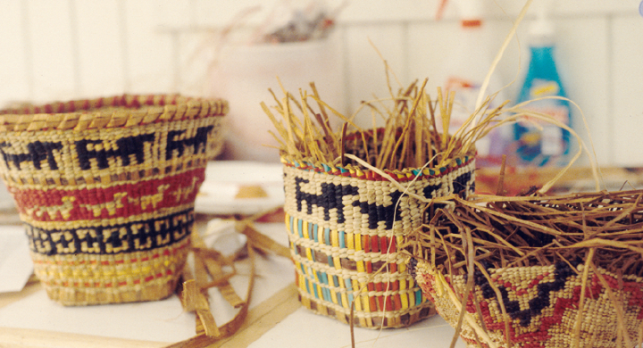 Baskets hand-crafted by Gerald Bruce 'Subiyay' Miller, courtesy National Endowment for the Arts
