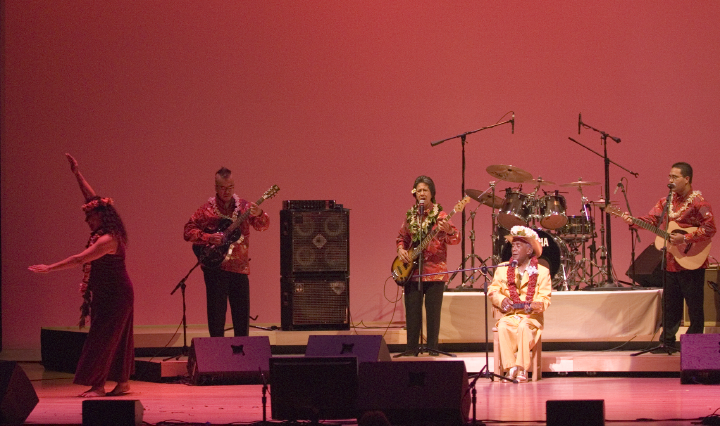 From left: Iwalani Kalima, Akada Kaleo, Nani Na'ope, George Na'ope, Kai Olohai Smith, 2006 National Heritage Fellowship Concert, Strathmore Music Center, Bethesda, Maryland, photograph by Alan Hatchett