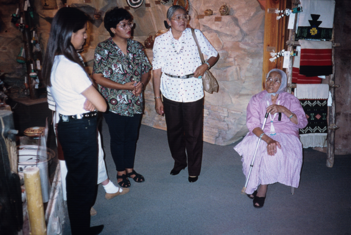 Grace Henderson Nez at an exhibition of weavers at the Museum of Northern Arizona July 1994, Photograph by ALH, courtesy National Endowment for the Arts