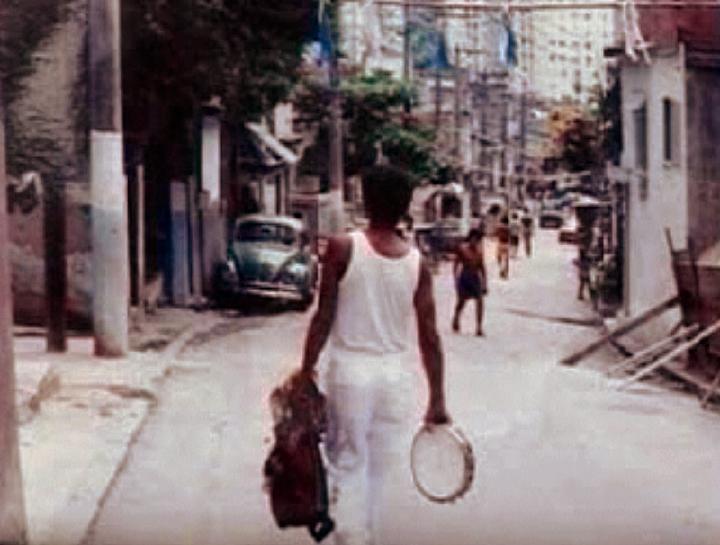 Carlinhos Pandeiro de Ouro on Mangueira hill, for a *Globo* newspaper photo shoot, Rio de Janeiro, Brazil, 1994, courtesy Carlinhos Pandeiro de Ouro