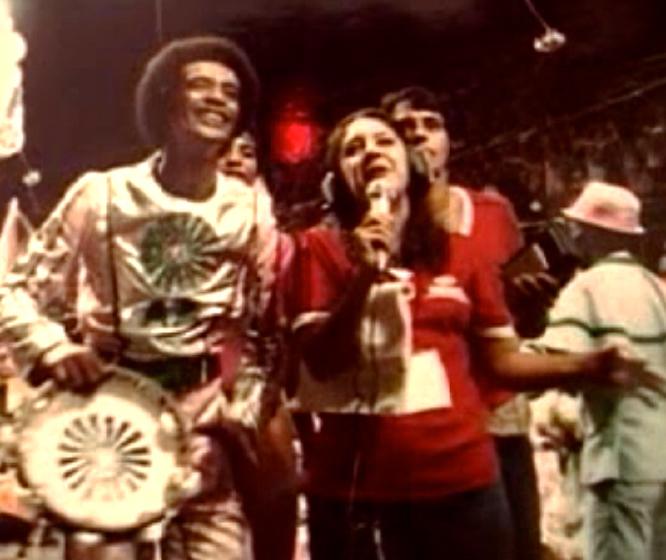 Carlinhos Pandeiro de Ouro during Mangueira Carnaval parade, Rio de Janeiro, Brasil, 1981, courtesy Carlinhos Pandeiro de Ouro