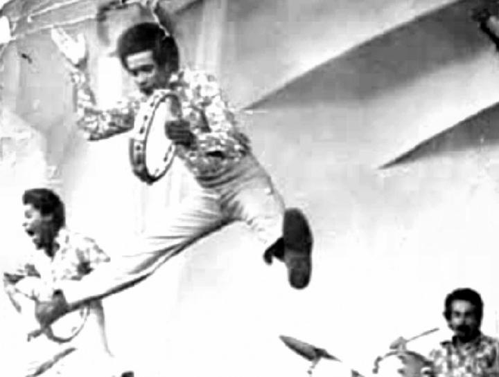 Carlinhos Pandeiro de Ouro performing with Trio Pandeiro de Ouro, Sweden, 1970, courtesy Carlinhos Pandeiro de Ouro