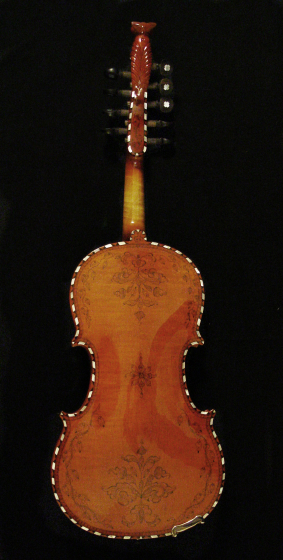 Hardanger fiddle (back) made by Ron Poast. Arlington, Virginia, 2003, photograph by Alan Govenar
