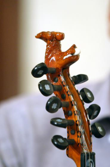 Ron Poast's Hardanger fiddle (detail), 2003 National Heritage Fellowship Concert, Arlington, Virginia, courtesy National Endowment for the Arts