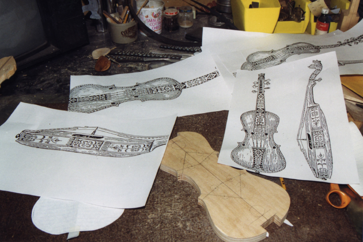 Hardanger fiddle drawings, courtesy Ron Poast