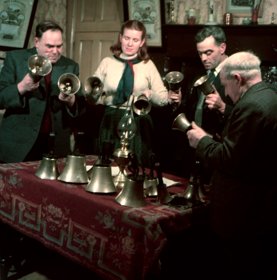 Empingham Bell Ringers giving Jean Ritchie a lesson in change ringing in the church, Empingham, 1952, courtesy Jean Ritchie and George Pickow