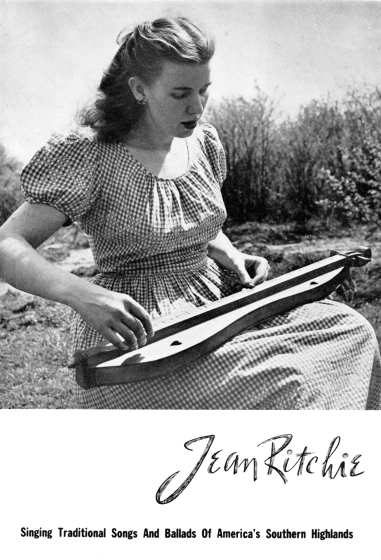 Jean Ritchie's first publicity brochure, featuring a photograph taken in Hally Wood's front yard, ca. 1950, photograph by George Pickow, courtesy Jean Ritchie and George Pickow
