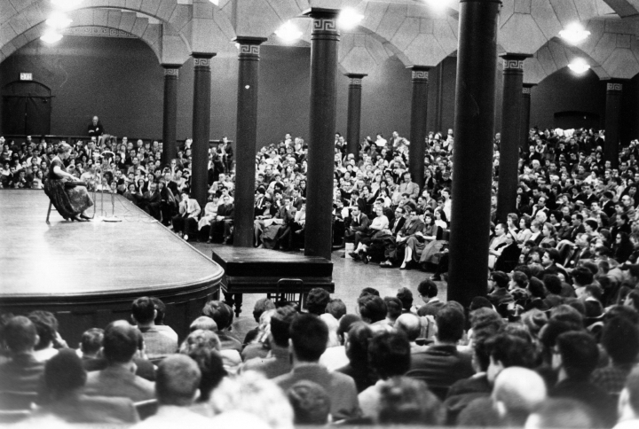 Once a year, Oscar Brand's WNYC Folksong Festival was broadcast live from The Cooper Union's Great Hall. New York City. Photograph by George Pickow, courtesy Jean Ritchie and George Pickow