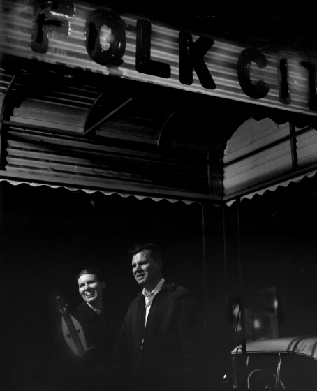 Jean Ritchie and Doc Watson outside Folk City after one of their performances, New York City, 1962. Photograph by George Pickow, courtesy Jean Ritchie and George Pickow