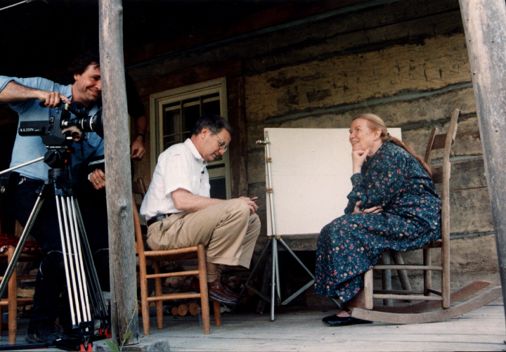About this photograph, Jean Ritchie says, 'During filming of the TV Special, *Amazing Grace*, Bill Moyers visited with his wife and staff during our family reunion. They stayed the whole weekend and were great guests. This interview took place on the front porch of our log house in Viper.' Photograph by George Pickow, courtesy Jean Ritchie and George Pickow