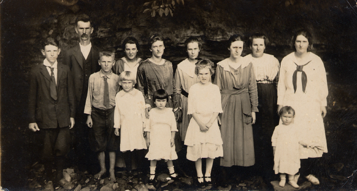 About this photograph, Jean Ritchie said, 'Balis and Abigail Ritchie with eleven of their children. In this photo, Pauline was the baby; brother Wilmer and I were born later.' Courtesy Jean Ritchie and George Pickow