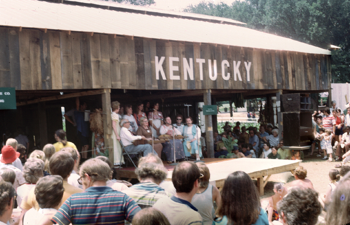 Jean Ritchie sings with members of the Ritchie family who were invited to perform at the National Folk Festival on the mall of the Smithsonian in Washington, D.C., during the Kentucky Bicentennial year, 1992. Photograph by George Pickow, courtesy Jean Ritchie and George Pickow