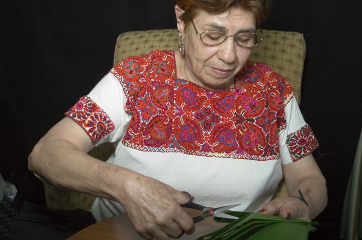 Growing up in Mexico, Herminia Albarran Romero learned *papel picado* (Mexican paper cutting), which is used in a wide range of celebrations. She also helped revive *Pan para los Muertos* (bread for the dead) in connection with Dia de los Muertos — the Day of The Dead — a tradition that helps her feel connected to loved ones who have passed on. She is shown here at work cutting folded paper, Arlington, Virginia, 2005, photograph by Alan Govenar