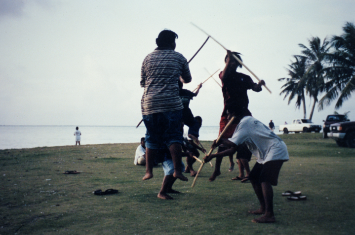 Carolinian stick dancers, Tanapag Village, Commonwealth of the Souther Marianas Islands, photograph by Mark Puryear, courtesy National Endowment for the Arts