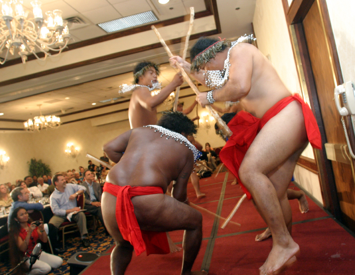 Carolinian stick dancers, 2003 National Heritage Fellowship Concert, Arlington, Virginia, photograph by Jim Saah, courtesy National Endowment for the Arts