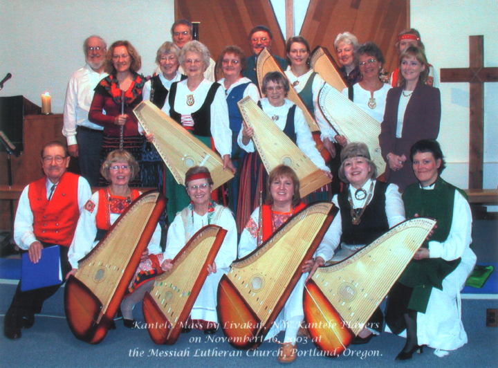 *Kantele* Mass by Livakat Northwest Kantele Players (Wilho Saari, center rear) on November 16, 2003, at the Messiah Lutheran Church, Portland, Oregon, courtesy Wilho Saari