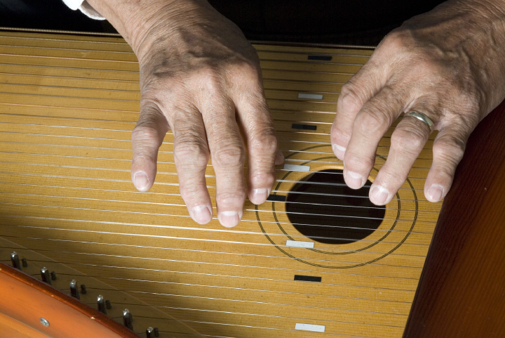 Wilho Saari playing the *kantele*, Bethesda, Maryland, 2006, photograph by Alan Govenar