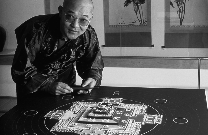 "Losang Samten says his art form, Buddhist sand mandala painting, often confuses Westerners because soon after it is completed, a mandala is ritually dismantled and its energy returned to nature. He considers himself ""an ordinary artist"" rather than a spiritual guru, saying, ""I just go around and share some of the ideas which can bring people peace."" Courtesy National Endowment for the Arts"