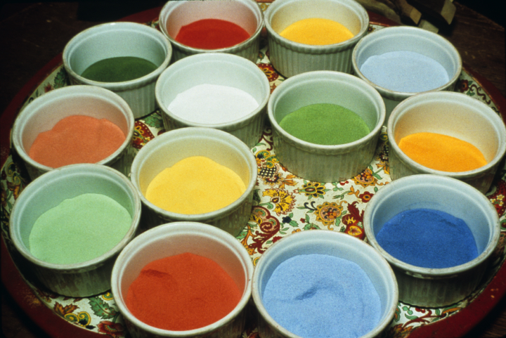 Colored sand used in making a mandala, courtesy Losang Samten