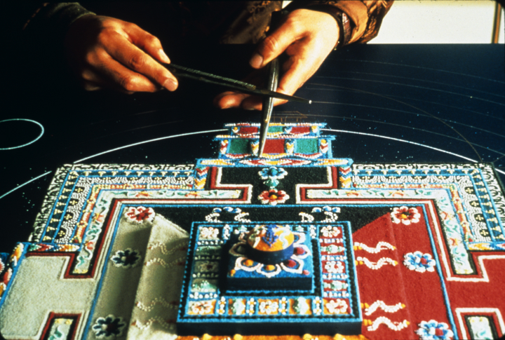Sand mandala by Losang Samten, 'Wheel of Time' (three-dimensional), colored sand, 4.5' in circumference, Santa Barbara Museum of Art, 1998, courtesy Losang Samten