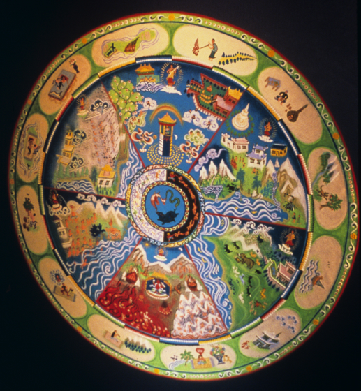Sand mandala by Losang Samten, 'Wheel of Life,' colored sand, 6' in circumference, Nevada Art Museum, 1999 courtesy Losang Samten