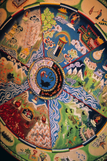 Sand mandala (detail) by Losang Samten, 'Wheel of Life,' colored sand, 6' in circumference, Nevada Art Museum, 1999, courtesy Losang Samten
